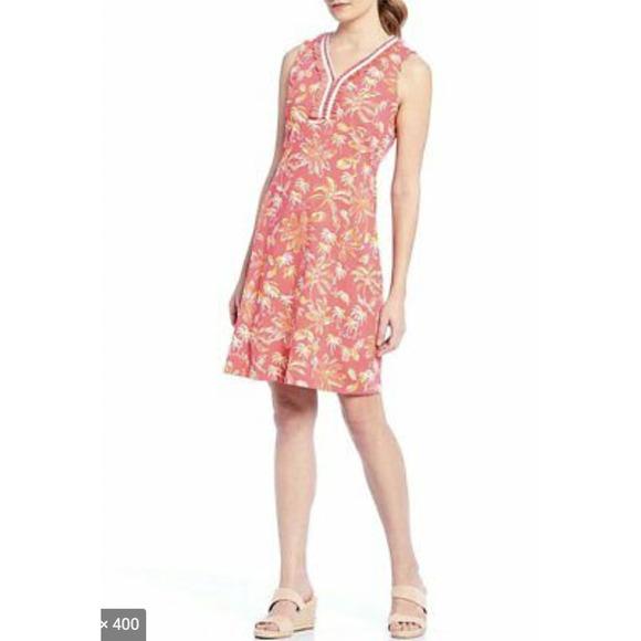 J. McLaughlin Brent Palm Tree V-Neck Dress S